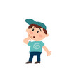 cartoon character white white boy with blue cap vector image vector image