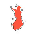 cartoon finland map icon in comic style finland vector image vector image