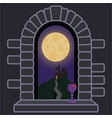 castle window with night landscape and full moon vector image