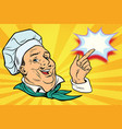 chef points his finger gesture vector image vector image