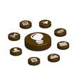 coffee web button vector image vector image