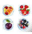 collection fruit and berries in a water splash vector image