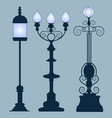 collection street lamps art nouveau style vector image vector image