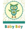 Colorful baby shower card with cute owl vector image vector image