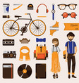 couple of hipster young girl and beard man with vector image vector image