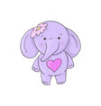 cute cartoon lovely girl elephant vector image vector image