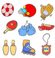 doodle of sport equipment style various vector image vector image