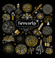 festive golden firework icons set vector image vector image