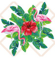 flamingo hibiscus palm leaves print vector image vector image
