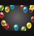 flying color transparent balloons on dark vector image vector image