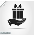 Gift Box on Hand Pictograph icon Surprise sign vector image vector image