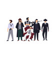 group of mafia members or mafiosi dressed in vector image vector image