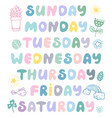 hand drawn weekdays elements for bullet journal vector image vector image