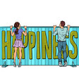 happiness word text couple in love looking over vector image vector image