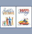 happy holidays with skiing and snowmobiling vector image vector image