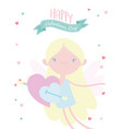 happy valentines day cute cupid with hearts vector image