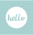 hello sign in frame on mint green background vector image