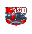 hot rod logo with a vintage car and custom vector image vector image