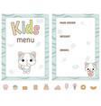 kids menu design kids menu design vector image vector image