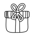 line close present box with ribbon bow vector image vector image
