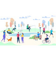 male and female characters life on park background vector image vector image