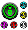 Money buttons set vector image vector image