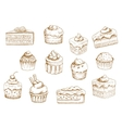 Pastry and sweet desserts sketches vector image vector image