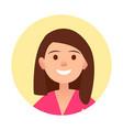 portrait of brunette joyful woman close-up icon vector image vector image