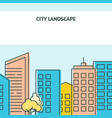 poster template with city street in thin vector image