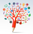 Red apple tree pencil with education symbols vector image