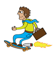 Rocket skateboard cartoon vector image