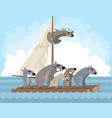 rodents on a raft vector image vector image