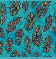 seamless pattern with tribal feathers and mandala vector image vector image