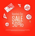 valentines day sale background with gifts vector image vector image