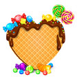 waffle heart with chocolate and sweets blank vector image vector image