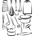 with a set of kitchen utensil vector image