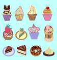 icons set of Cupcakes Dessert- vector image