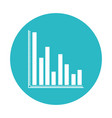 circle light blue with column chart icon vector image