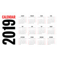 2019 calendar design template vector image