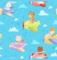 airplane pattern animal kid characters vector image vector image