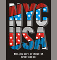 athletic nyc usa american flag vector image vector image