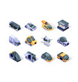 autonomous vehicles isometric icons set vector image