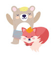 bashower cute bear with short pants and fox vector image vector image