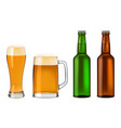 beer bottles glass mockup set realistic style vector image