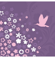 bird flies up to pink flowers a vector illustratio vector image vector image