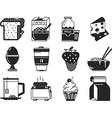 Black monochrome icons for breakfast menu vector image