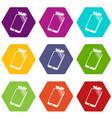 broken screen smartphone icons set 9 vector image vector image