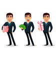 business man cartoon character in formal suit vector image vector image