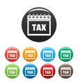calendar of tax icons set color vector image vector image