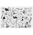 cats hand drawn doodle set vector image vector image
